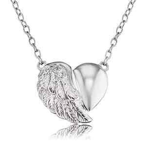 Náhrdelník ENGELSRUFER Srdce s křídlem stříbrný se zirkony