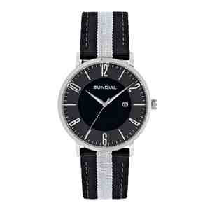 Pánské hodinky SUNDIAL Striped Nylon Band Black White