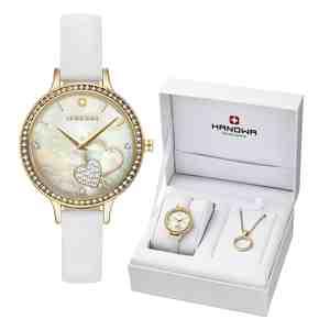 Dámské hodinky HANOWA Love Set s náhrdelníkem Gold