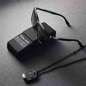 POLICE sada Men in Black náhrdelník + brýle