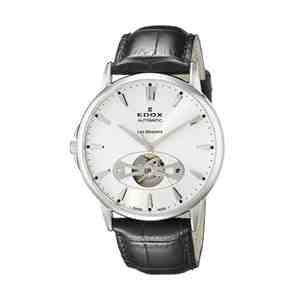 Pánské hodinky EDOX Les Bémonts Silver Bla Leather Strap