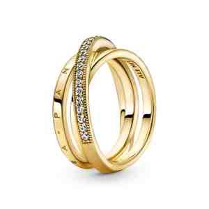 Prsten PANDORA Shine Tři překřížené pavé kroužky