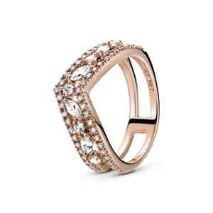 Prsten PANDORA Rose Třpytivá dvojitá markýzová kost přání
