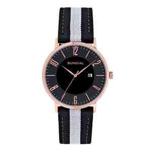 Pánské hodinky SUNDIAL Striped Nylon Band Rose Gold