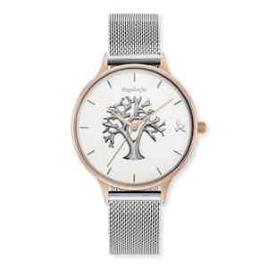 Dámské hodinky ENGELSRUFER Strom života Rose Gold Silver Strap