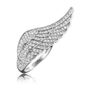 Prsten ENGELSRUFER s křídlem stříbrný se zirkony _S