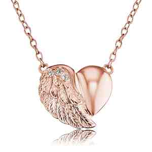 Náhrdelník ENGELSRUFER Srdce s křídlem růžové zlacení se zirkony