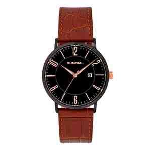 Pánské hodinky SUNDIAL Classic Leather Strap Brown Black