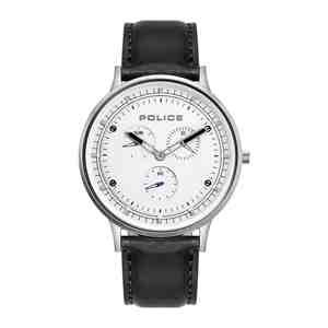 Pánské hodinky POLICE Berkley White & Black Leather Strap