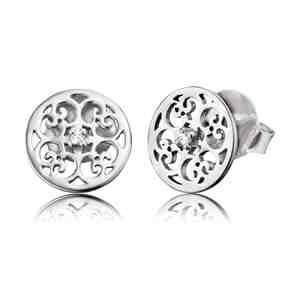 Náušnice ENGELSRUFER s ornamentem stříbrné se zirkony s puzetou