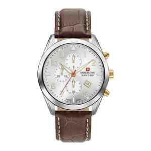 Pánské hodinky SWISS MILITARY HANOWA Helvetus Chrono Silver Brown