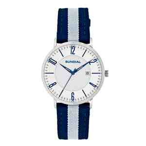 Unisex hodinky SUNDIAL Striped Nylon Band Silver Blue White