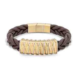 Náramek POLICE Barbedwire Brown Leather Gold