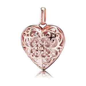 Andělský zvonek ENGELSRUFER Srdce se zirkony růžové zlacení