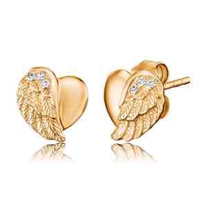 Náušnice ENGELSRUFER Srdce s křídlem zlacené
