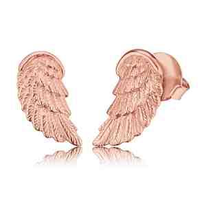 Náušnice ENGELSRUFER Andělské křídlo růžové zlacení s puzetkou _S