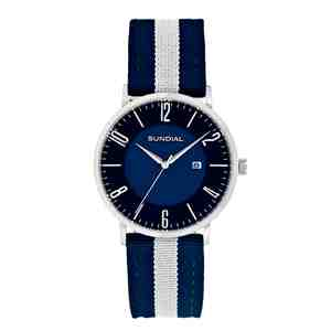 Pánské hodinky SUNDIAL Striped Nylon Band Black Blue White