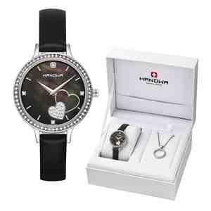Dámské hodinky HANOWA Love Set s náhrdelníkem Black