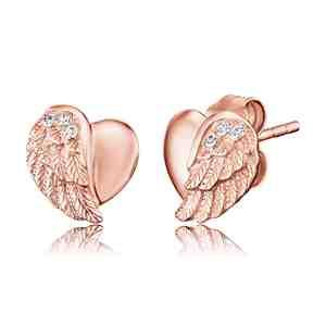 Náušnice ENGELSRUFER Srdce s křídlem růžové zlacení