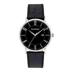 Pánské hodinky SUNDIAL Classic Leather Strap Silver Brown