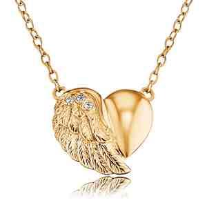 Náhrdelník ENGELSRUFER Srdce s křídlem zlacený se zirkony