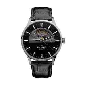 Pánské hodinky EDOX Les Vauberts Silver Black Leather Strap