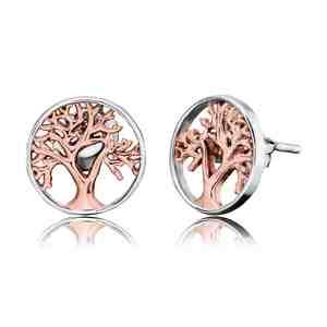 Náušnice ENGELSRUFER Strom života stříbrné a růžové zlacení
