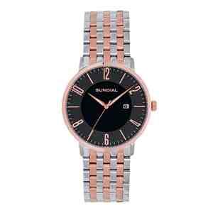 Pánské hodinky SUNDIAL Seven Link Bracelet Silver Rose Gold